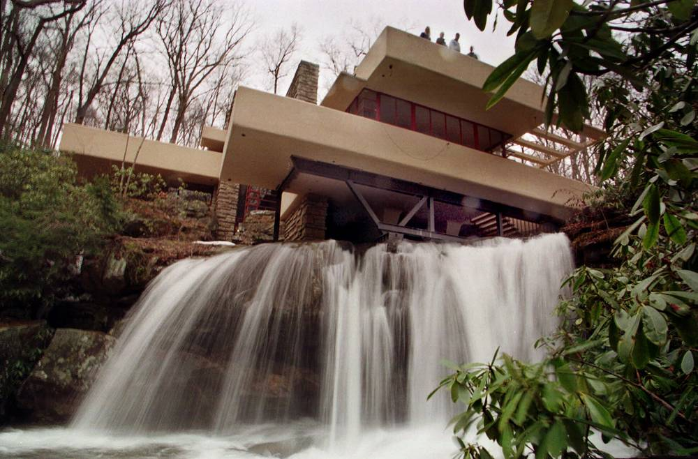 """Temporary steel shoring supporting the first-floor cantilevers at Frank Lloyd Wright's Fallingwater house in Mill Run, built in 1936. The summer weekend home was named """"The best all-time work of American architecture,"""" in a poll of members of the American Institute of Architects"""