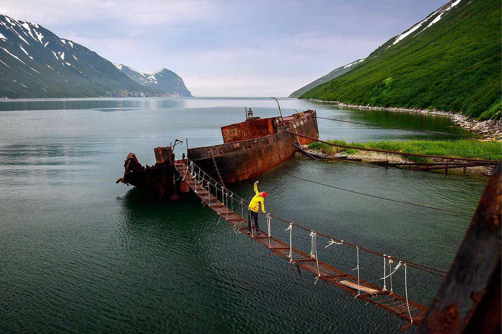 Abandoned ships in the Russkaya Bay of the Avacha Gulf on the south-eastern coast of the Kamchatka Peninsula, Russia, July 19