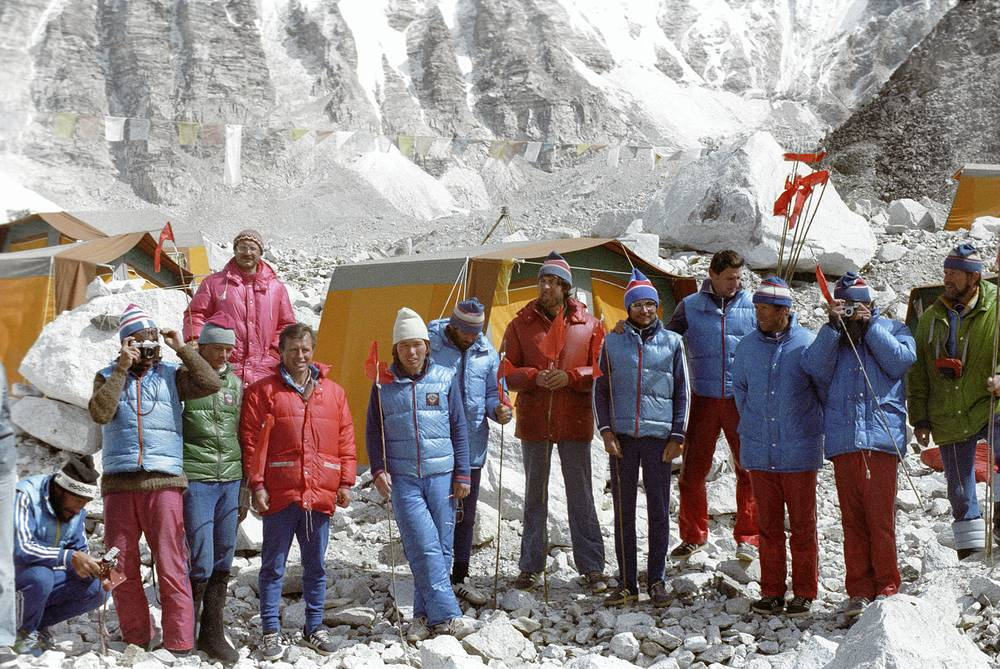 Participants of the first Soviet expedition to Mount Everest, 1982