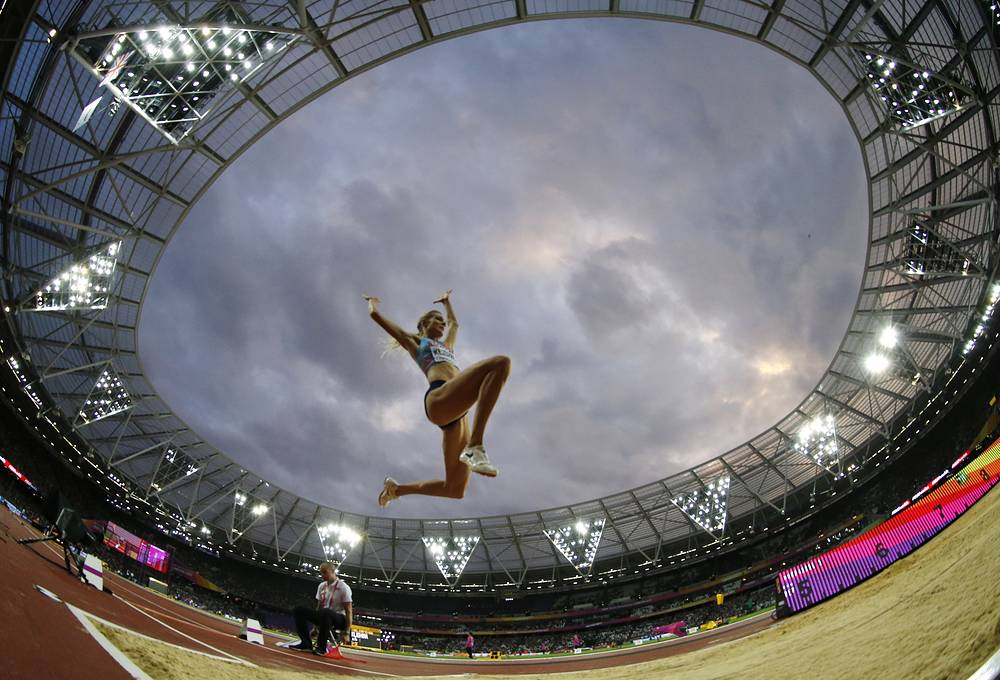 Russia's Darya Klishina makes an attempt in the women's long jump final during the World Athletics Championships in London, UK, August 11