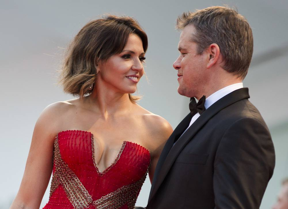 """Actor Matt Damon and his wife Luciana Barroso at the premiere of the film """"Downsizing"""" which opened the 74th edition of the Venice Film Festival"""