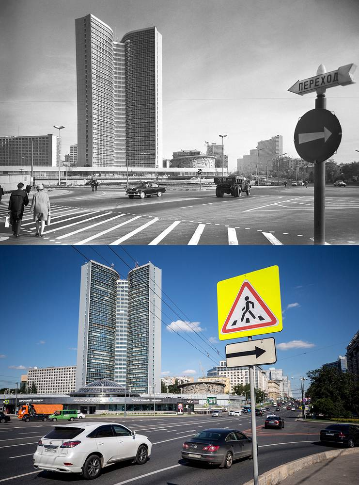 A view of the SEV Building on Kalinin Avenue in 1968 and 
