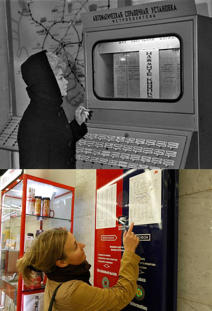 Above: A passenger by an automatic information terminal at Komsomolskaya metro station, 1967