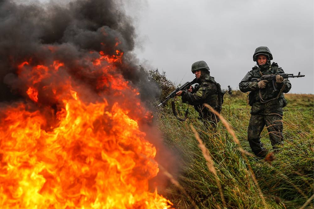 Servicemen of a Russian Baltic Fleet unit takes part in Zapad military exercises, at Pravdinsky range