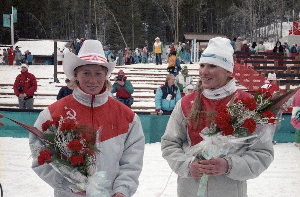Olympic champions in 5 km women's ski races, Tamara Tikhonova and Vida Vincene in Calgary, Canada, 1988