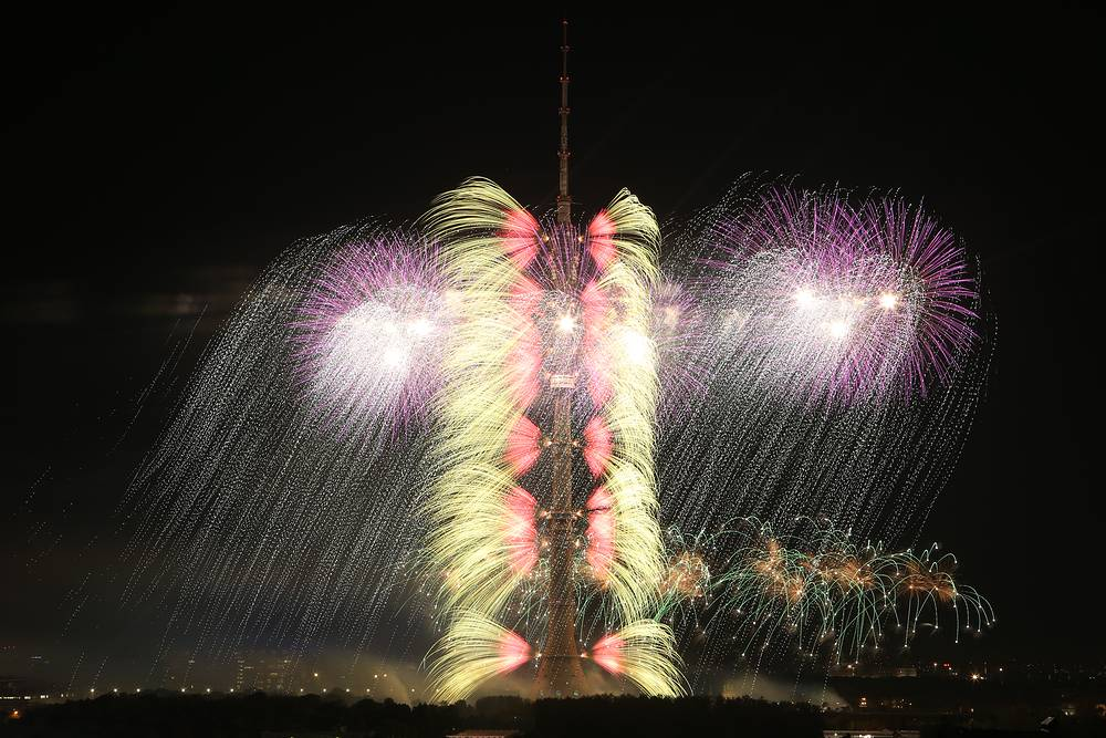 Fireworks going off by Ostankino TV Tower