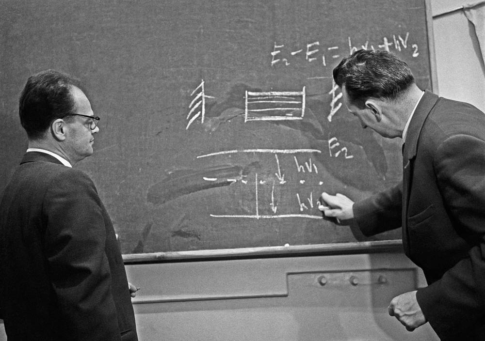 "Soviet physicists Nicolay Basov and Aleksandr Prokhorov were jointly awarded the Nobel Prize in Physics in 1964 ""for fundamental work in the field of quantum electronics"""