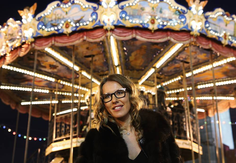 Ksenia Sobchak at the opening of the GUM Skating Rink in Moscow's Red Square