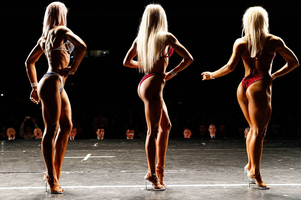 Women compete in a ladies' event at the 2017 Kaliningrad Region Bodybuilding, Fitness, and Bodyfitness Championships and Age-Grade Competitions, Kaliningrad, Russia, October 14
