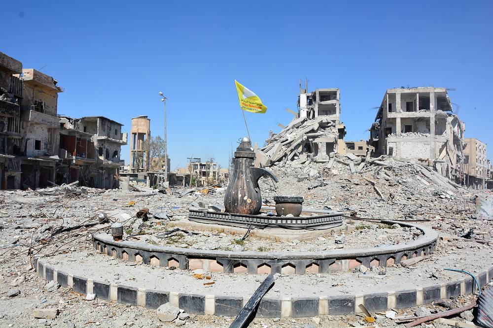 A view of the Al-Na'im roundabout in central Raqqa, Syria. The roundabout also known as the 'Roundabout of Hell', was used by ISIS extremists to perform public executions, beheadings and crucifixions during their three-year rule of the city