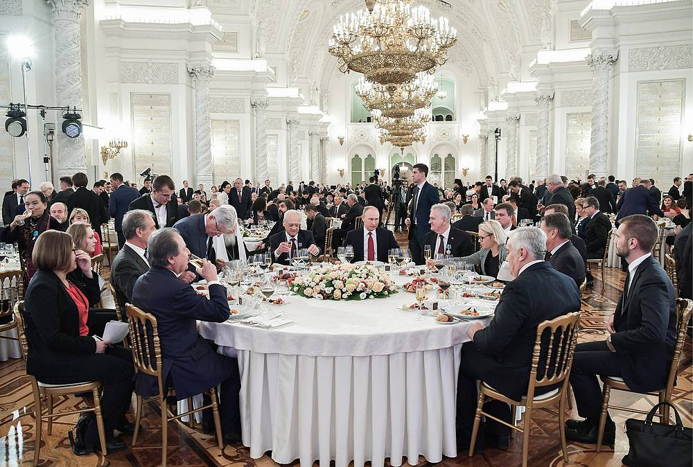 Vladimir Putin at the official banquet in the Kremlin during the National Unity Day, November 4