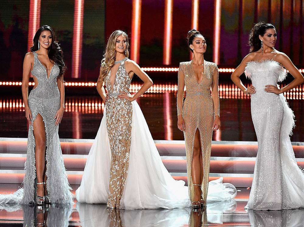 Miss Philippines 2017 Rachel Peters, Miss Canada 2017 Lauren Howe, Miss South Africa 2017 Demi-Leigh Nel-Peters and Miss Spain 2017 Sofia del Prado compete in the evening gown competition during the 2017 Miss Universe Pageant in Las Vegas