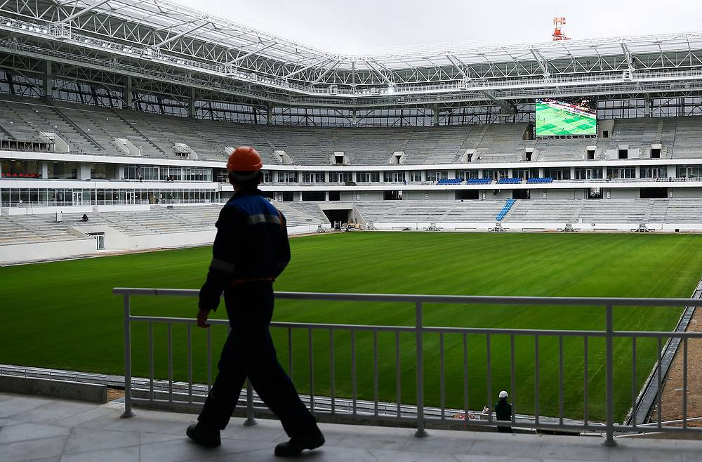 A worker at Kaliningrad Stadium