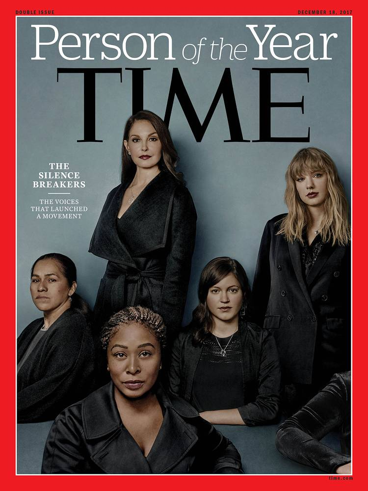 """Time magazine's 2017 Person of the Year is """"The Silence Breakers,"""" those who came forward with their stories about being victims of sexual harassment"""