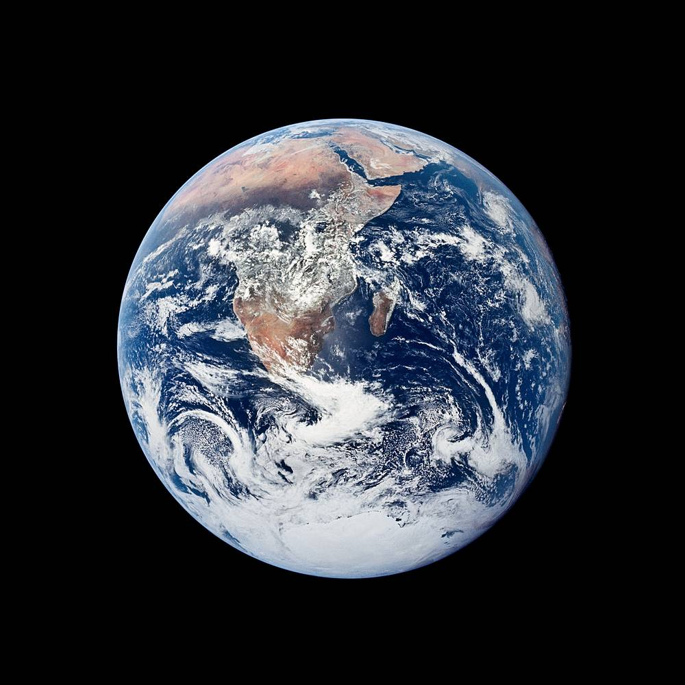 """The Blue Marble"", an image of the Earth made on December 7, 1972, by the crew of the Apollo 17 spacecraft at a distance of about 29,000 kilometers from the surface. It is one of the most reproduced images in human history. Photo extends from Mediterranean Sea to the Antartic south polar ice cap. Almost the entire coast of Africa is delineated"