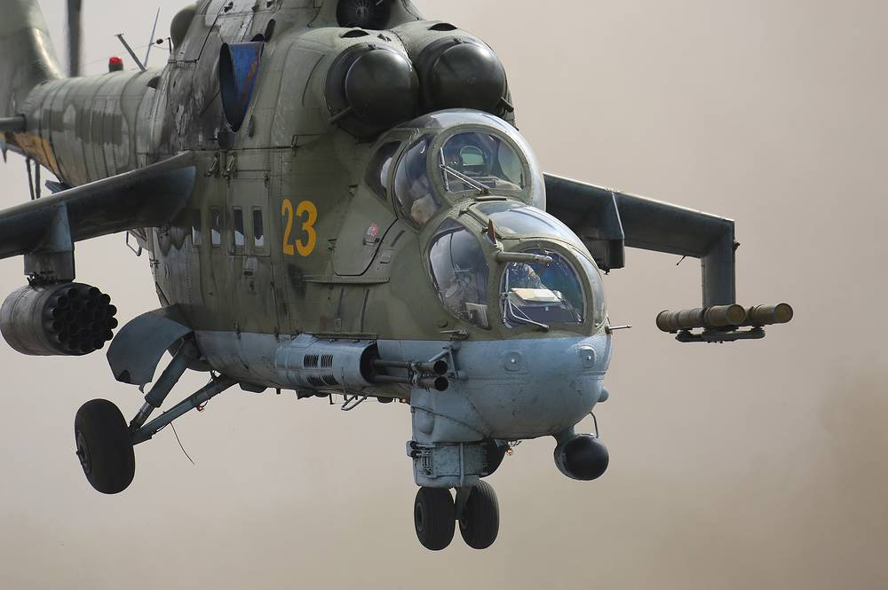 """Mi-24 attack helicopter. It has been operated since 1972 by the Soviet Air Force and its successors, along with more than 45 other nations. Soviet pilots called the Mi-24 the """"flying tank"""""""
