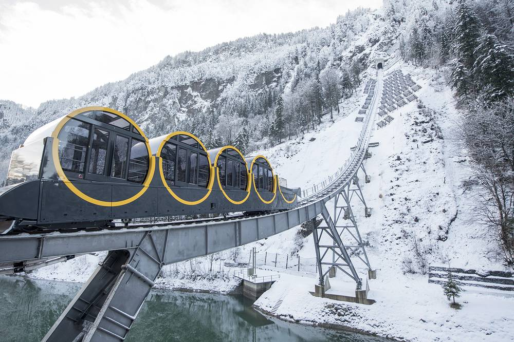 The new and steepest funicular railway in the world, the Stoos Bahn, is ready for the opening ceremony after five years of construction, in Stoos, Switzerland, December 15