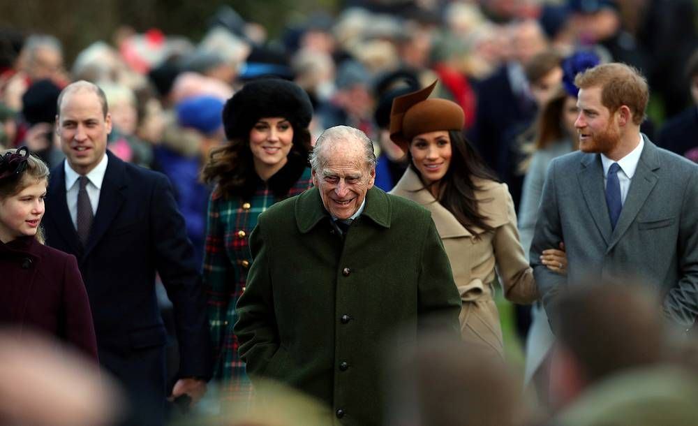 Britain's Prince Philip, the Duke of Edinburgh, leads members of the royal family as they arrive to attend the Christmas Day church service on the Sandringham estate in eastern England, Britain, December 25
