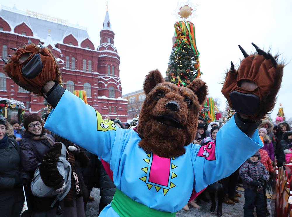 A man dressed as a bear is seen in central Moscow during Maslenitsa festival