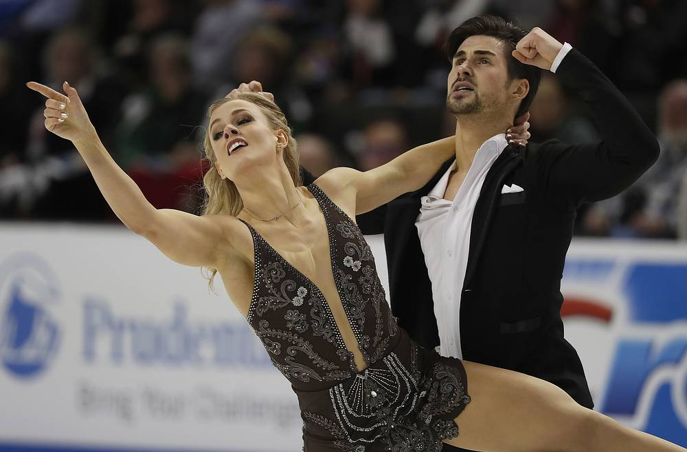 Ice dancers Madison Hubbell and Zachary Donohue, of the United States