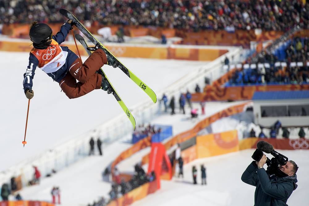 Maddie Bowman of the United States in action during the Women's Freestyle Skiing Ski Halfpipe competition at the Bokwang Phoenix Park during the PyeongChang 2018 Olympic Games, South Korea, February 20