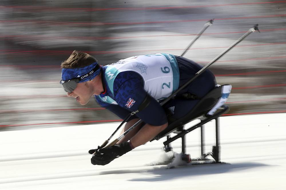Scott Meenagh of Great Britain competes in the Biathlon Sitting Men's 12.5km event at the Alpensia Biathlon Centre for the 2018 Winter Paralympics held in Pyeongchang, South Korea, March 13