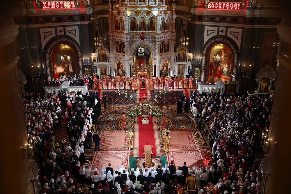 Easter service at the Cathedral of Christ the Saviour in Moscow