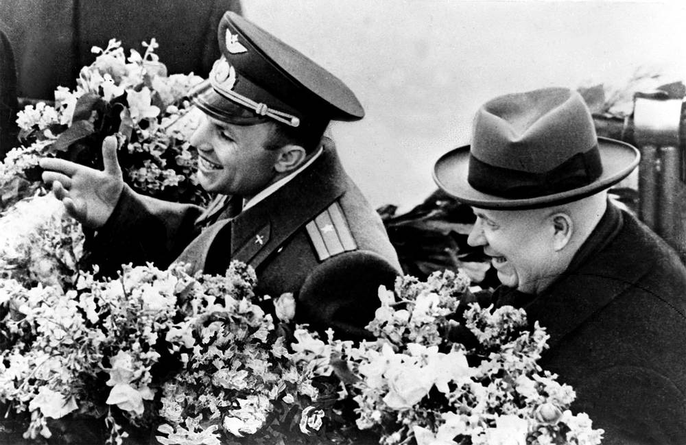 First Secretary of the Communist Party of the Soviet Union Nikita Khrushchev and cosmonaut Yuri Gagarin, 1961