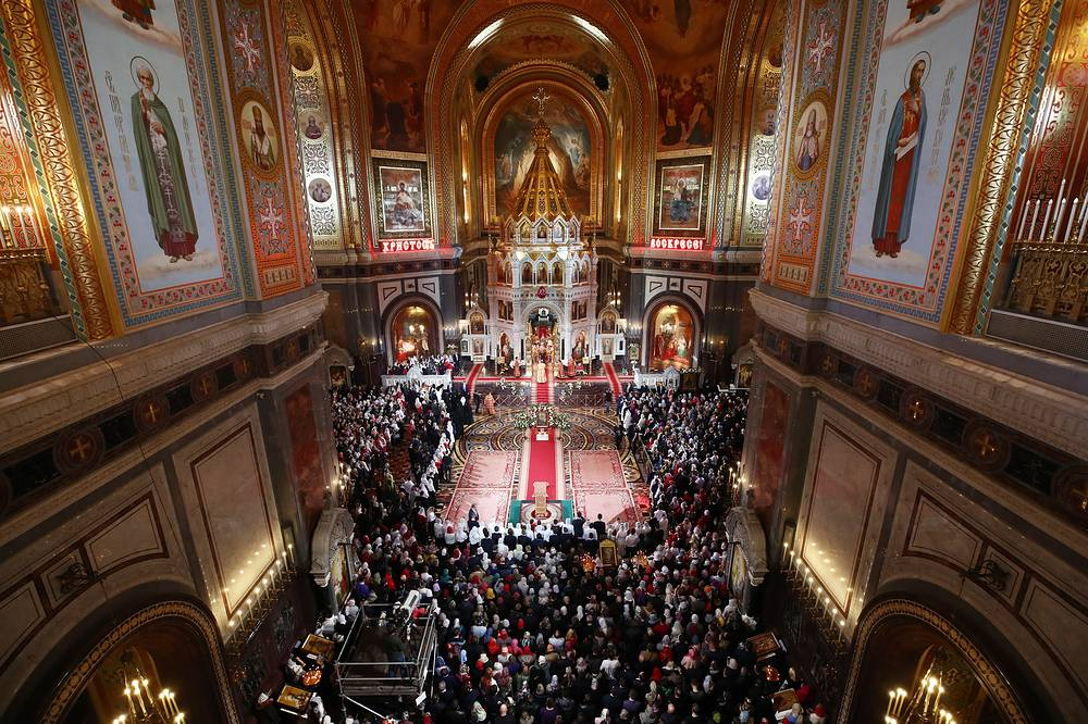 Russian Orthodox Easter service at the Cathedral of Christ the Saviour, Moscow, Russia, April 8