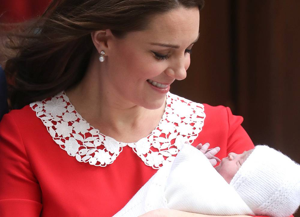 Catherine, Duchess of Cambridge departs the Lindo Wing with her newborn son Prince Louis of Cambridge at St Mary's Hospital in London, April 23