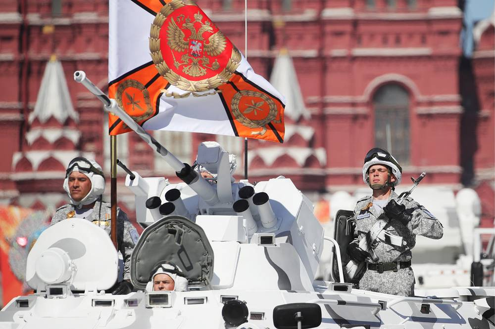 Tor-M2DT Arctic short-range anti-aircraft missile systems based on DT-30 all-terrain tracked carrier roll down Moscow's Red Square