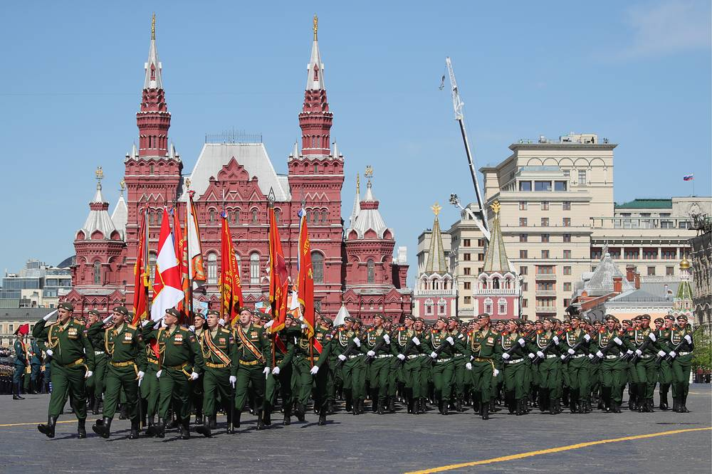 Servicemen march on formation during a Victory Day military parade in Moscow