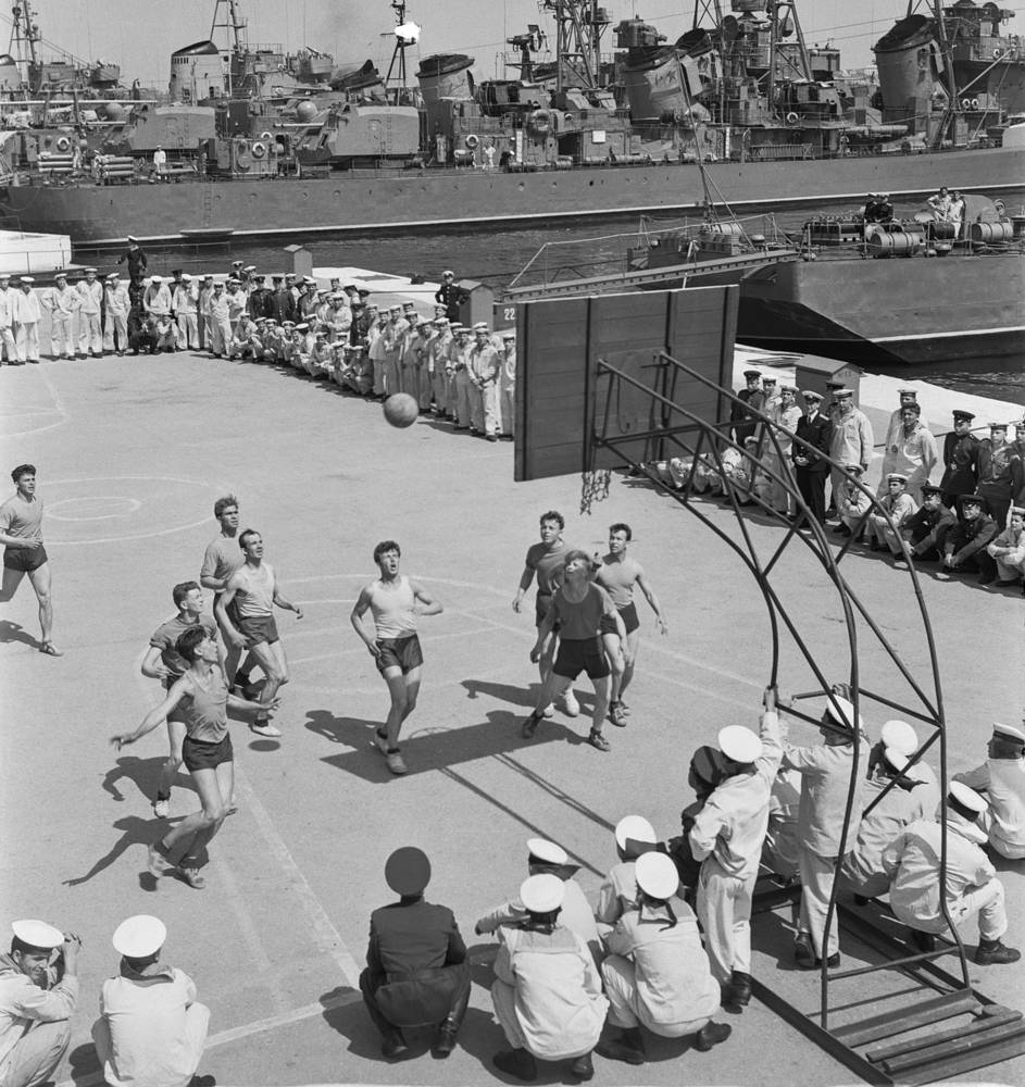 A basketball game between sailors from several military ships of the Black Sea Fleet, 1962