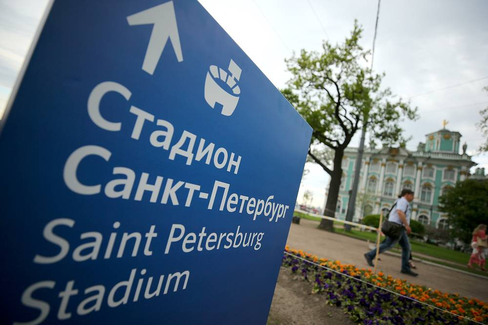 A direction sign to Saint Petersburg Stadium, a venue of the 2018 FIFA World Cup, by the Hermitage Museum