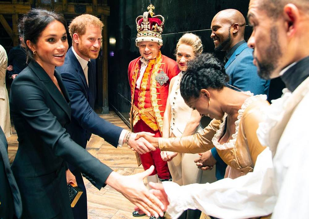 Prince Harry, Duke of Sussex and Meghan, Duchess of Sussex meet the cast and crew of 'Hamilton' backstage after the gala performance in support of Sentebale at Victoria Palace Theatre in London, August 29