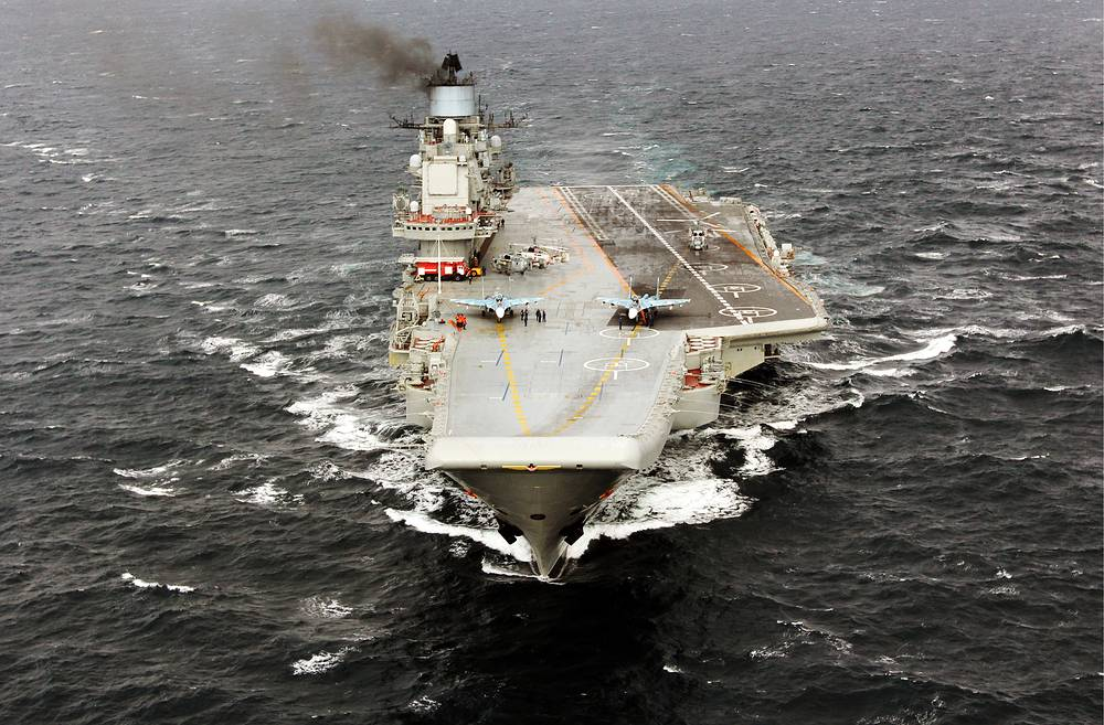 Admiral Kuznetsov is the Russian Navy's largest warship and its sole aircraft carrier capable of carrying horizontal take-off and landing aircraft. It carries up to 52 aircraft, among them Su-33, MiG-29K fighters, Ka-27 helicopters, Su-25 UTG/UBP aircraft