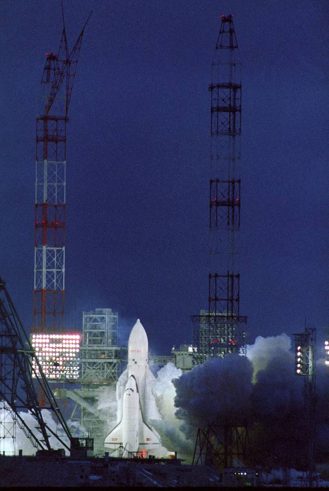 Energia rocket with the Buran spacecraft taking off from the Baikonur cosmodrome, 1988