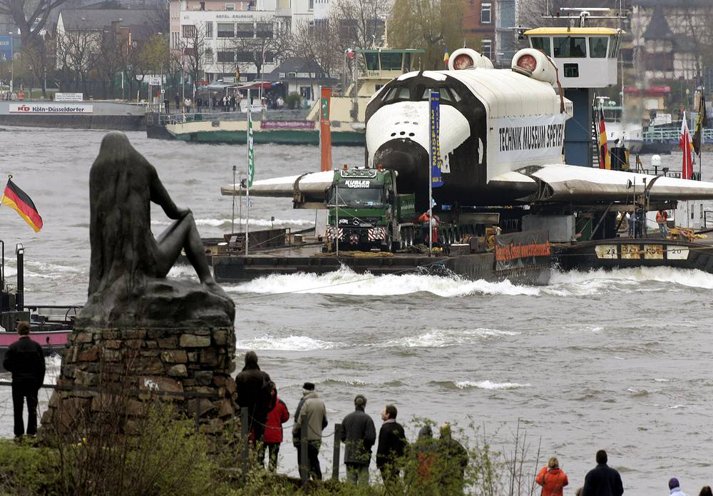 Buran space shuttle being transported on a pontoon-boat on the river Rhine heading for the Technik-Museum Speyer in southwestern Germany, 2008