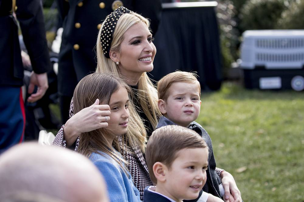 Ivanka Trump, the daughter of President Donald Trump, sits with her children, Joseph Frederick Kushner Arabella Rose Kushner and Theodore James Kushner at the ceremony to pardon the National Thanksgiving Turkey in Washington