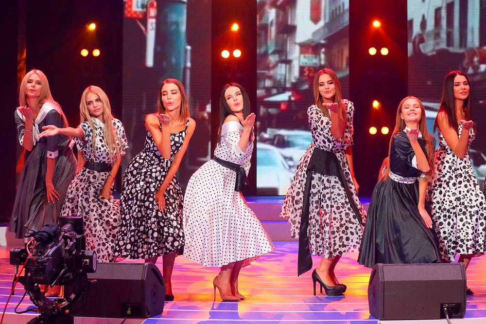 Contestants perform in the Miss Moscow 2018 beauty pageant at Vegas City Hall in Moscow