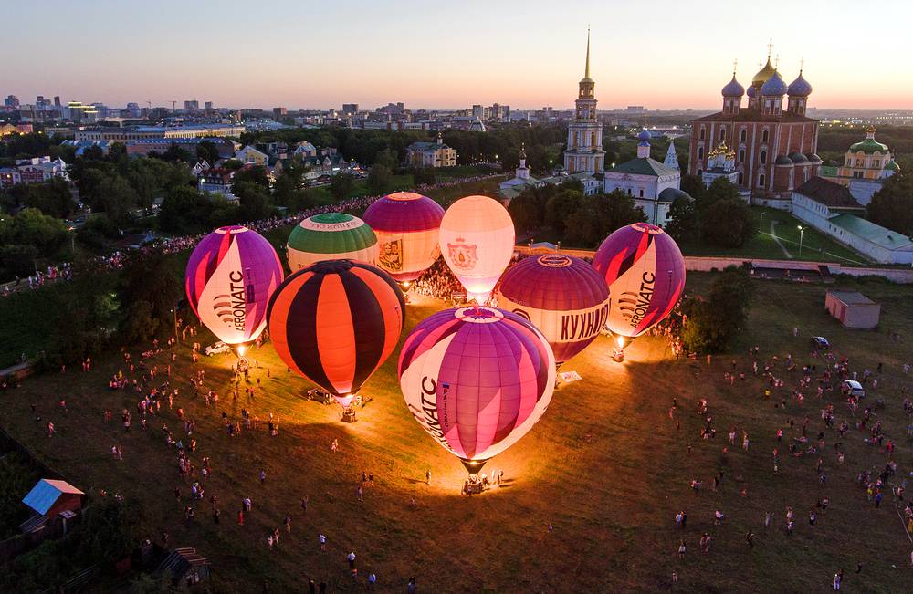 Hot air balloons are seen during The Sky of Russia 2018 aeronautics festival