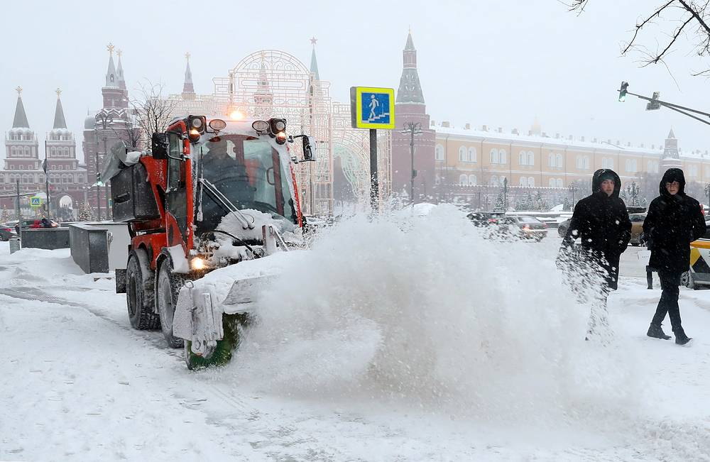 A street cleaner tackles snow in Moscow