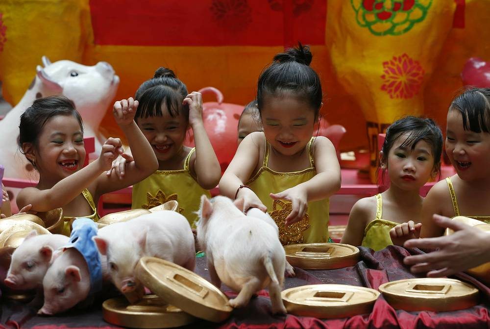 Girls play with live Teacup pigs at the start of celebrations leading to the Lunar New Year in Manila, February 1
