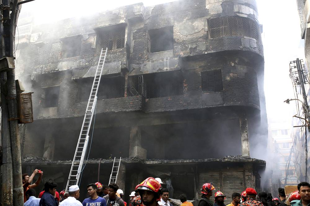 According to Xinhua, the fire started after a gas explosion in the house and later raced through densely packed buildings in Dhaka