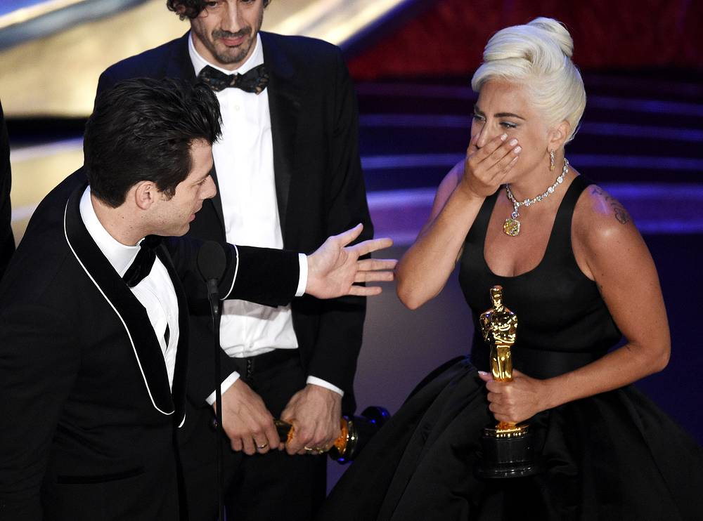 "Mark Ronson, Anthony Rossomando and Lady Gaga accept the award for best original song for ""Shallow"" from ""A Star Is Born"""