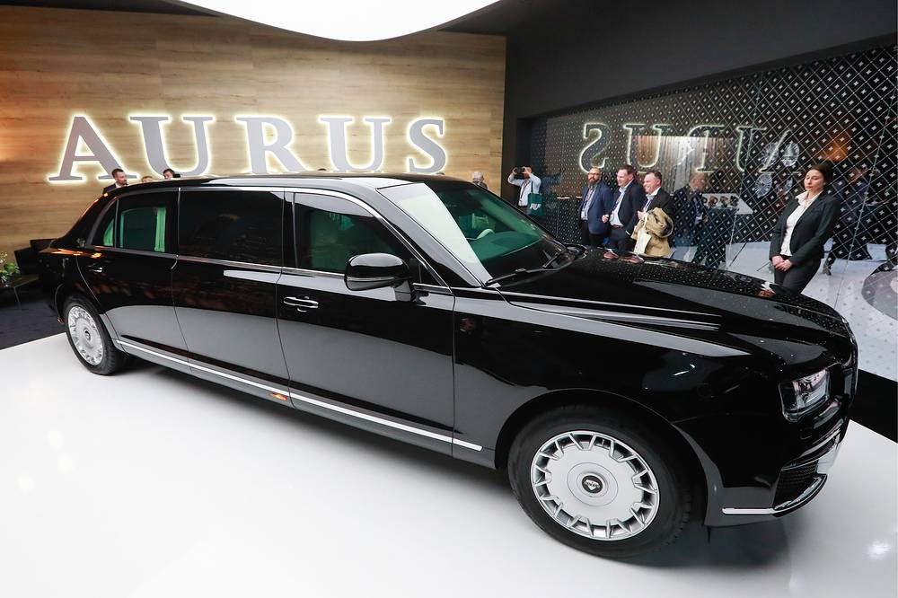 Aurus Senat Limousine L700 on display during a press day ahead of the opening of the 89th Geneva International Motor Show