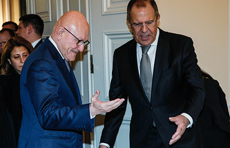 Russian Foreign Minister Sergey Lavrov and Lebanon's Prime Minister Tammam Salam