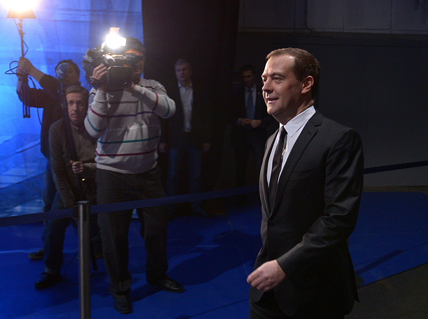 Russian Prime Minister Dmitry Medvedev before the interview to journalists of five Russian TV channels
