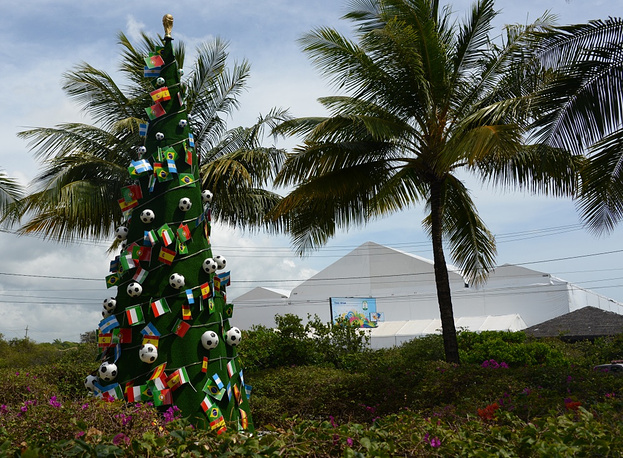 Christmas tree decorated with soccer balls in Brazil