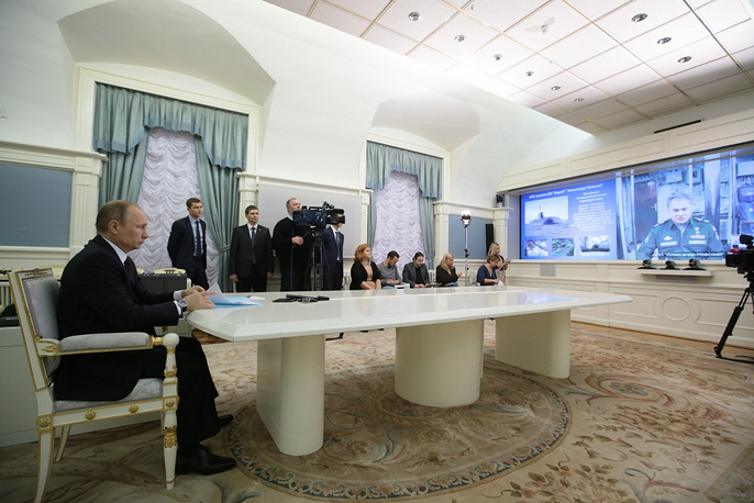 Russia's President Vladimir Putin during videoconference